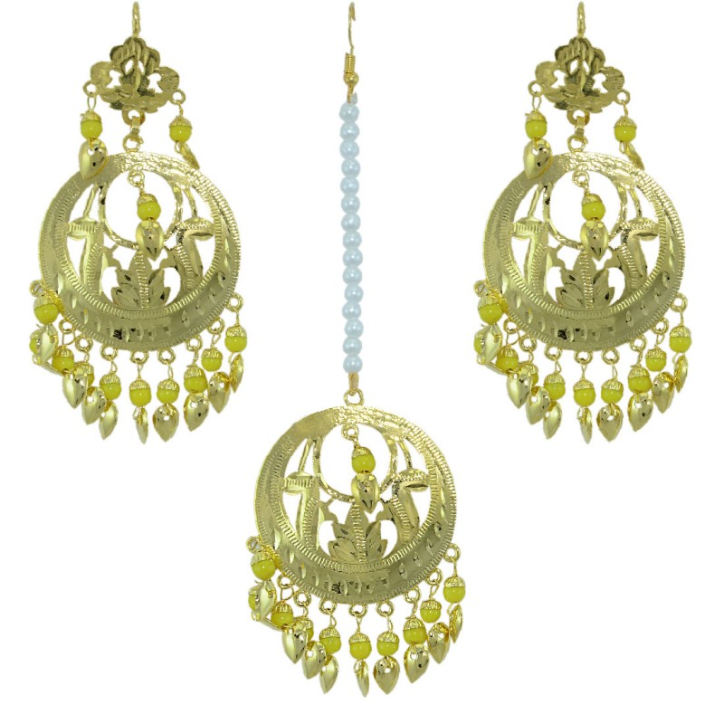 Traditional Gold Plated Maang Tikka With Earring Set for Women