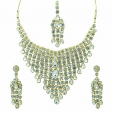 Gold Plated Shinny Stones Studded Necklace Set With Maang Tikka