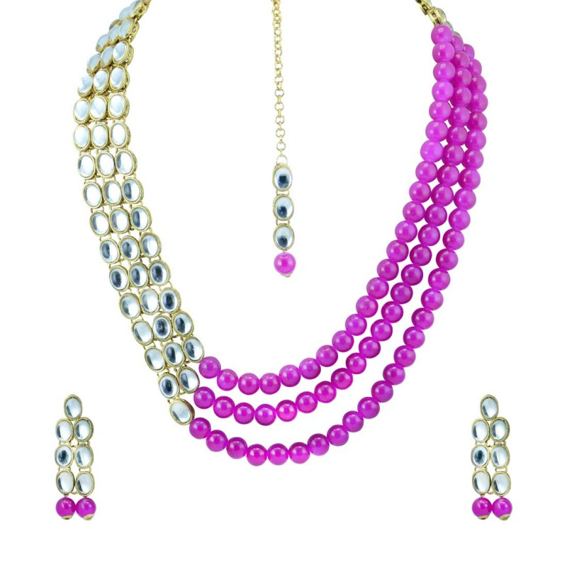 Designer Stone Studded Necklace With Pink Pearls