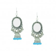Silver Plated Jhumki Earrings In Sky Blue Color