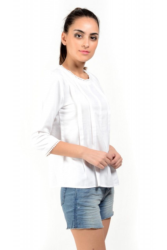 White Cotton Top For Women By Shipgig