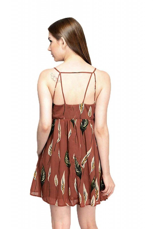 Leaf Printed Georgette Strap Short Dress By Shipgig