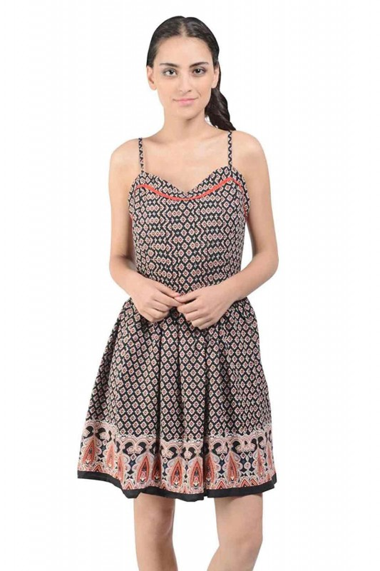 Black Multi Printed Strap Dress
