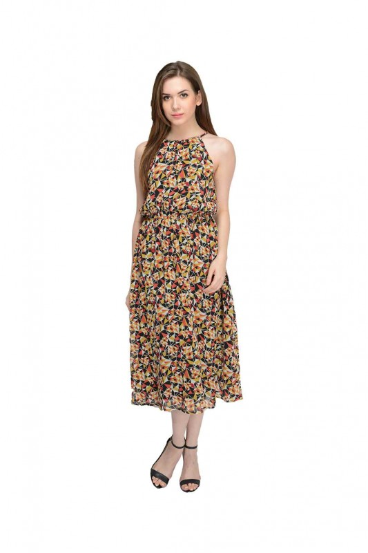 Fit And Flare Printed Dress By Shipgig