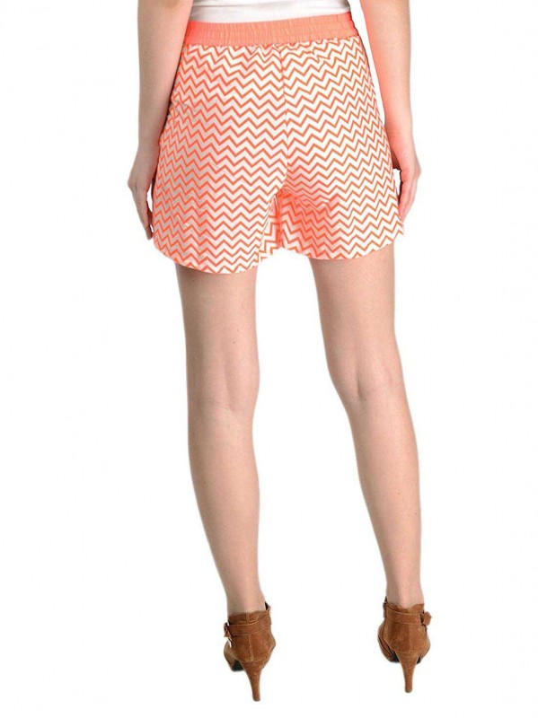 Creme Neon Print Short For Women