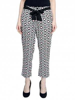 Black White Pink Printed Crepe Trouser By Shipgig