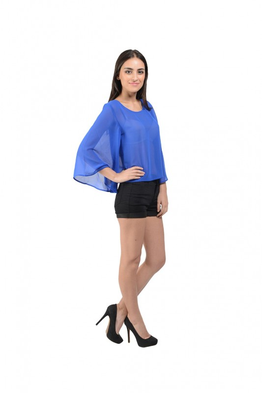 Casual Solid Blue Top By Shipgig