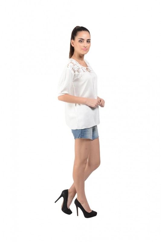 White Cotton Designer Top For Women By Shipgig