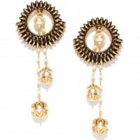 Gold Plated Drop Earrings With Synthethic Pearl