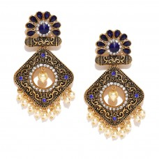 Beautiful Blue Studded Earrings With Shinny Pearl
