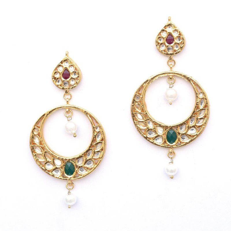 Multiple Stone Drop Gold Plated Chandbali Earrings