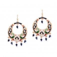 Colorful Plated Handcrafted Earrings With Black Pearls