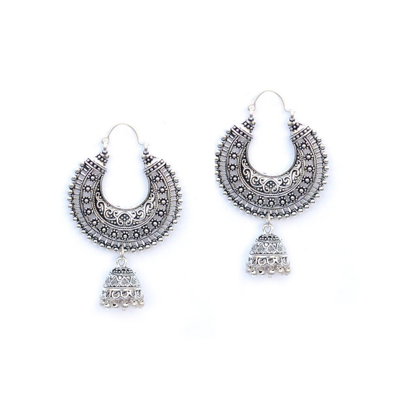 Oxidised Silver Toned ChandBalis