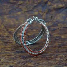 Circular Silver Red Stone Hoop Earrings