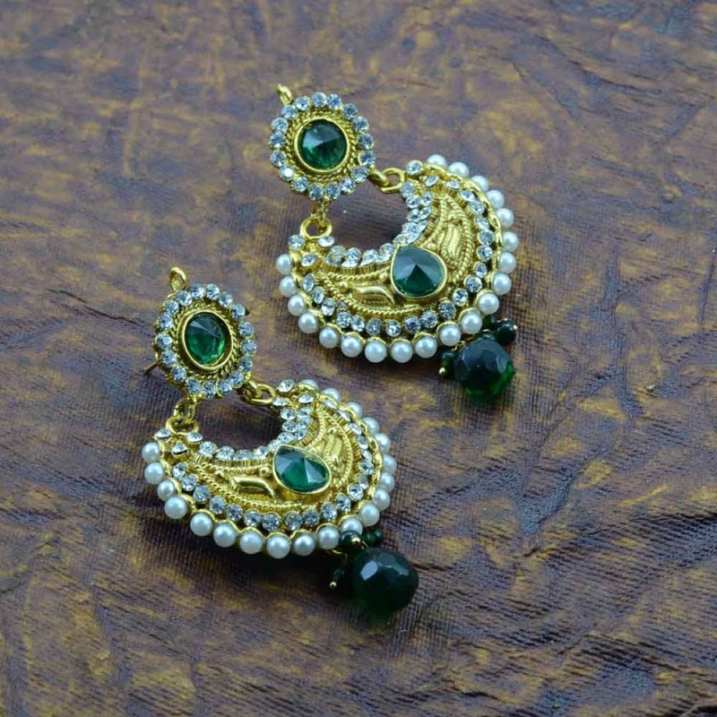 Beautiful Gold Plated Earrings With Multiple Green Stones