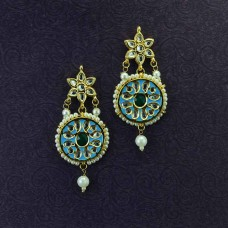 Beautiful Gold Plated Dangler Earring With Sea Blue Color Stones