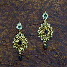 Dark Red & Green Stone Antique Gold Plated Dangle Earrings