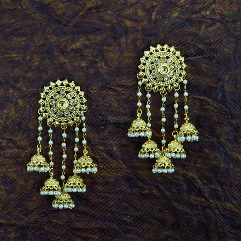 5 in 1 Jhumki Earrings With Multiple Drop White Pearls