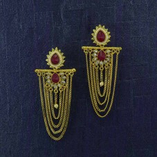 Gold Plated Hanging Earrings With Maroon Kundan