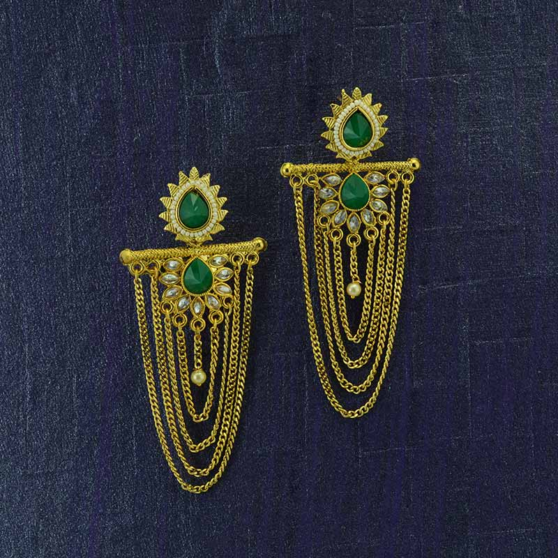 Gold Plated Hanging Earrings With Green Kundan