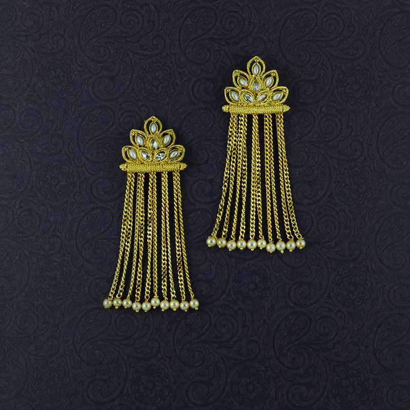 Gold Plated Long Chain Tassel Earrings With Multiple Pearls