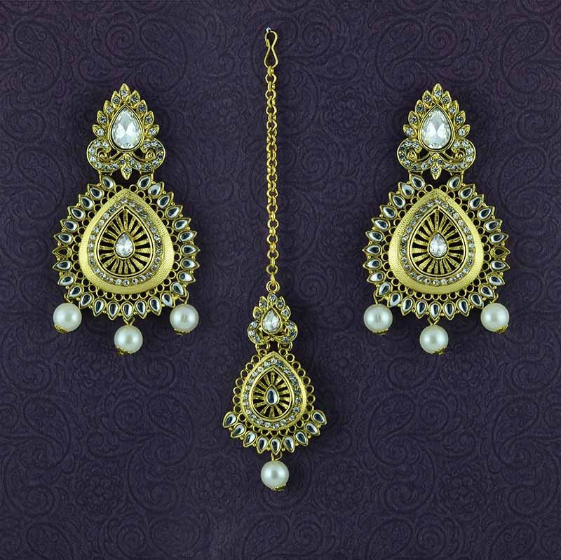 Gold Plated Embellished Maang Tikka With Pearls Drop Earrings