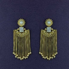 Gold Toned Handcrafted Tassel Drop Dangler For Women