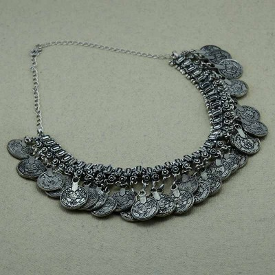 Oxidized Silver Toned Statement Necklace