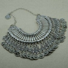 Oxidized Silver Plated Tasselled Necklace
