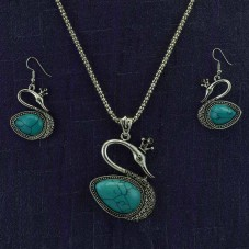 Oxidized Silver Swan Necklace With Pair Of Earrings