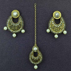 Gold Plated Maang Tikka With Pair Of Earrings