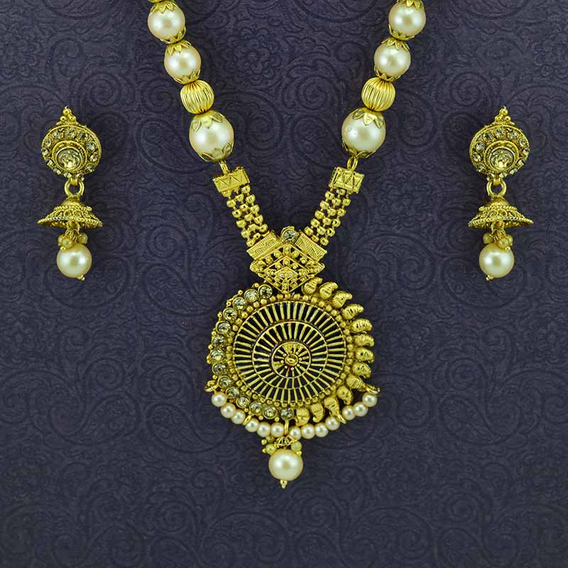 Gold Plated Necklace With Drop Earrings