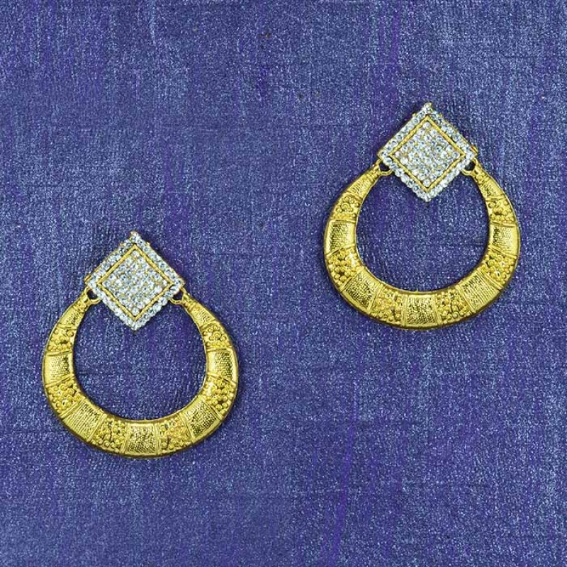 Gold Plated  Multiple Stone Studded Earring