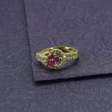 AD Stone Studded Gold Plated Ring With Pink Stone