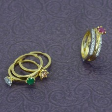 Gold Plated AD Finger Ring With Colorful Stones