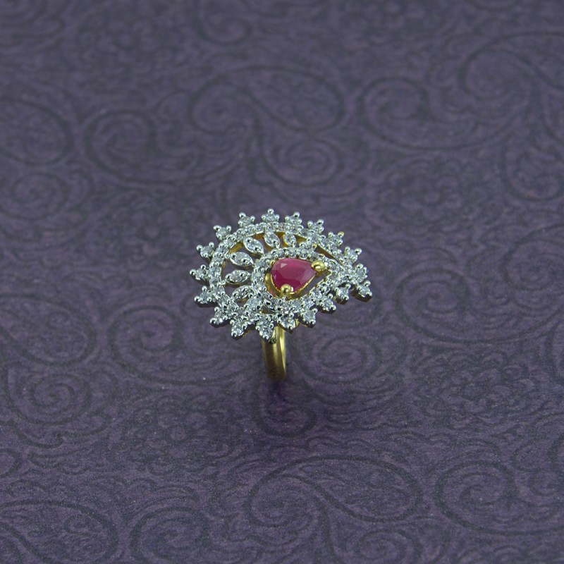 Gold Plated AD Stone Studded Ring With Pink Stone In Center