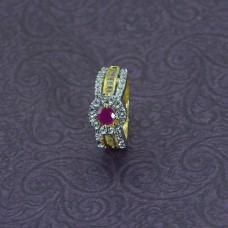 Gold Plated AD Stone Studded Ring With Pink Stone