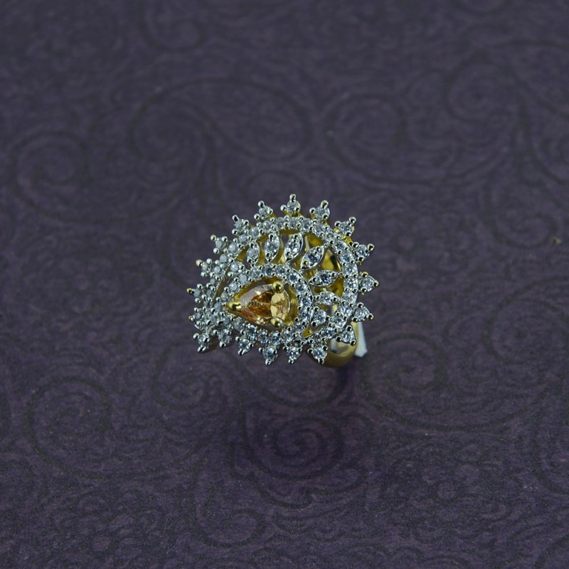Gold Plated AD Stone Studded Ring With Light Brown Stone