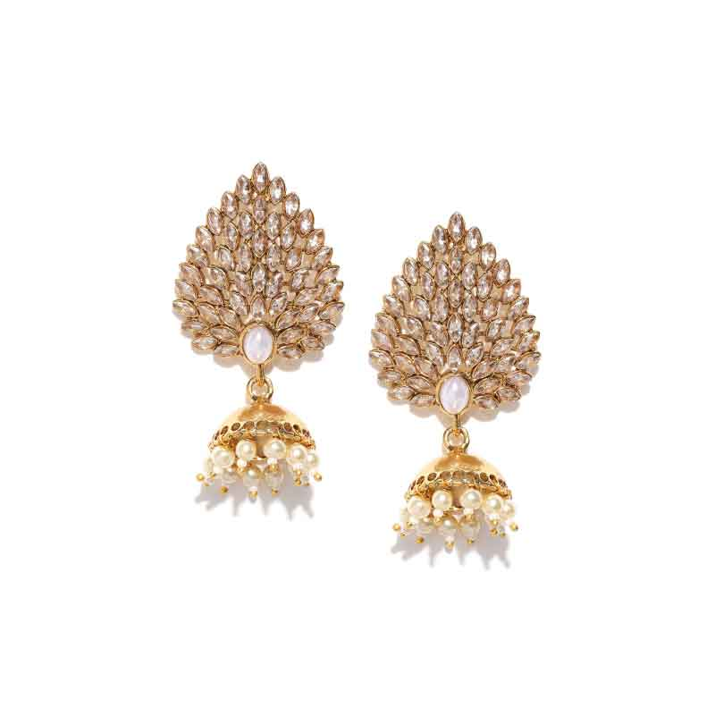 Gold Plated Jhumka with Shinny Studded Earrings