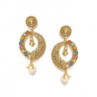 Drop Earrings With Colorful Kundan And Shinny Pearl