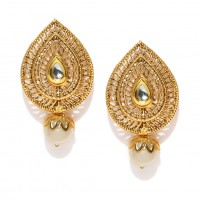 Gold Plated Earring With Studded Shinny Stone