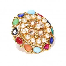 Multicolored Studded Stone Ring