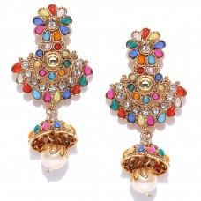 Multicoloured Kundan Drop Earrings