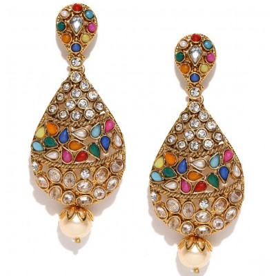 Gold Plated Stone Studded Multicolored Kundan Earrings