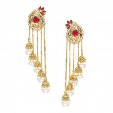Gold Plated Drop Earrings In Pink Stone