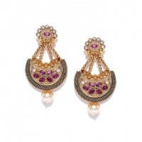 Gold Plated Chandbalis In Pink Stone