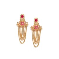 Gold Plated Stone Studded Earring In Pink Stone