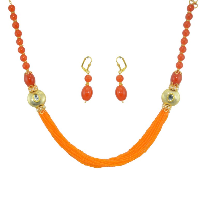 Designer Pearls  Necklace Set In Orange  Color