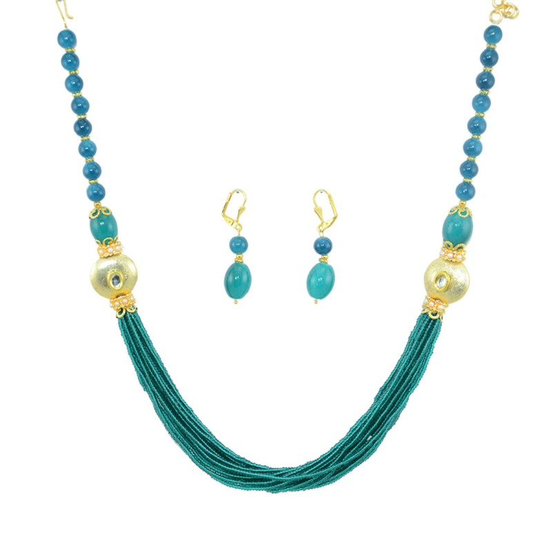 Designer Pearls Necklace Set In Sky Blue Color