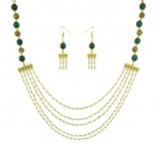 Multistrand Designer Necklace Set In Green Color